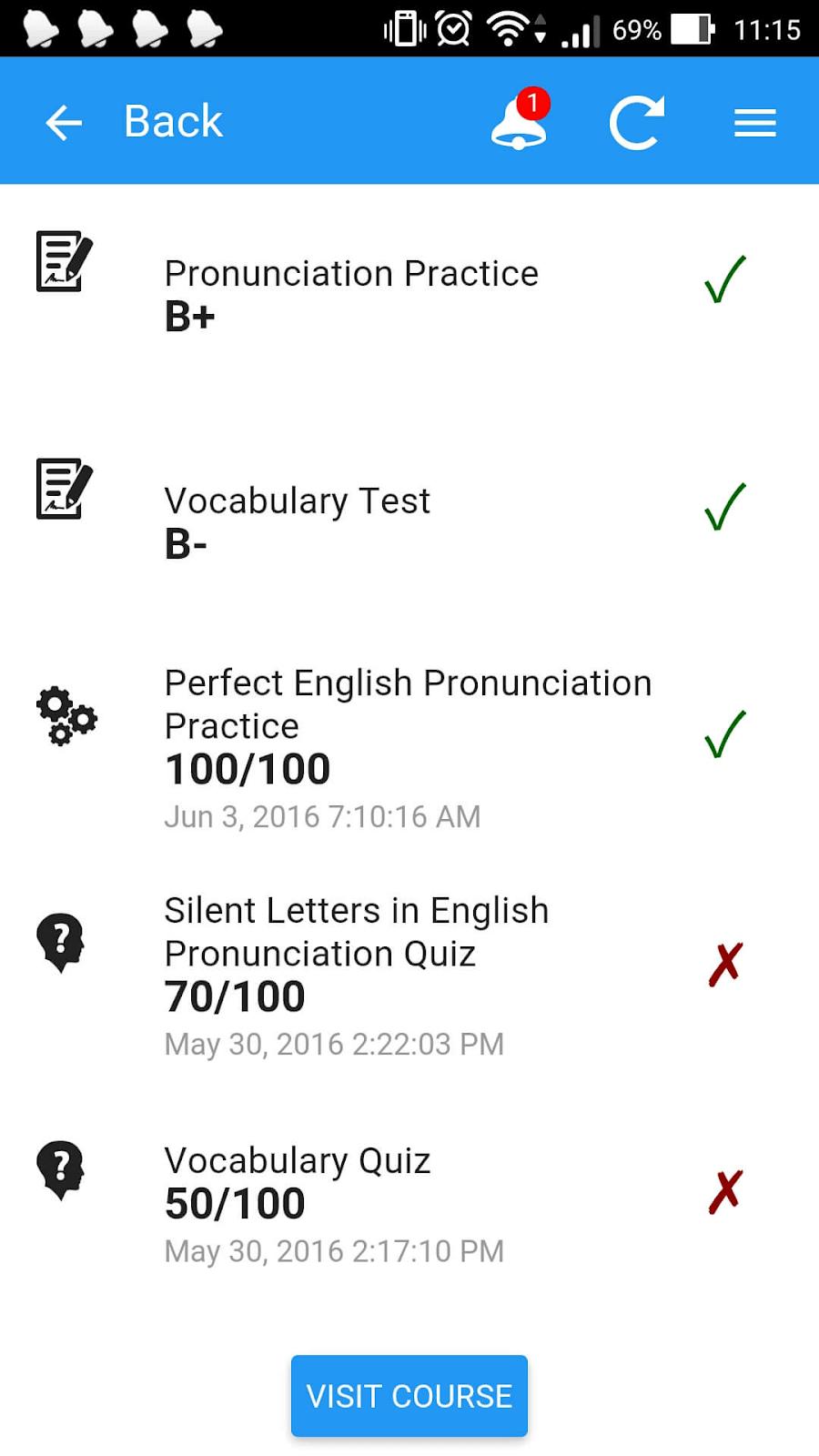 Gradebook in JoomlaLMS mobile app
