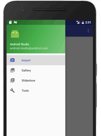 Android app design: drawer menu