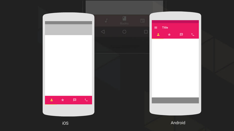 Android design vs. iOS design: tab bar