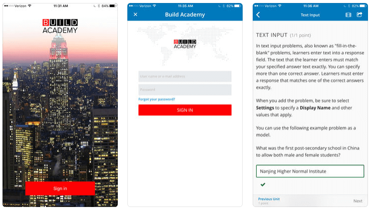 Build Academy online education app