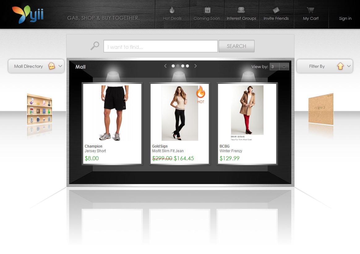 Yii-based online store interface