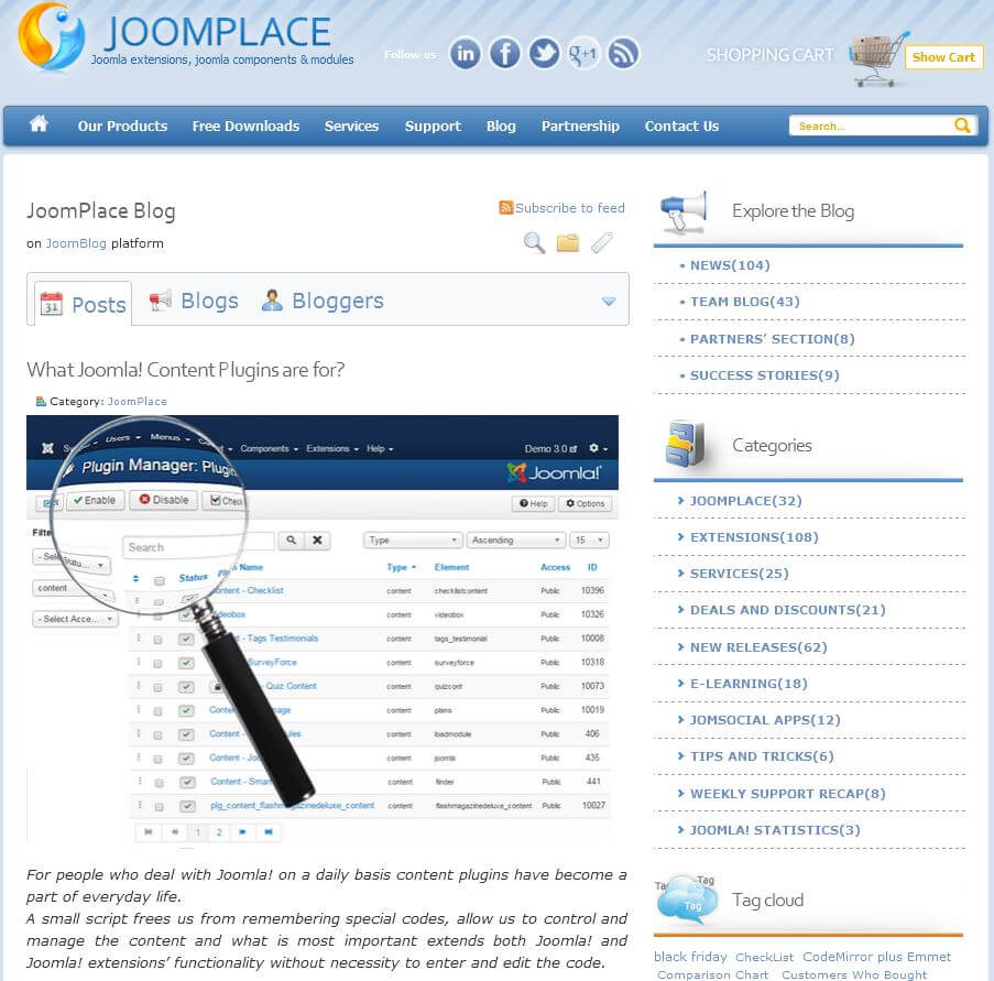 JoomPlace Blog page