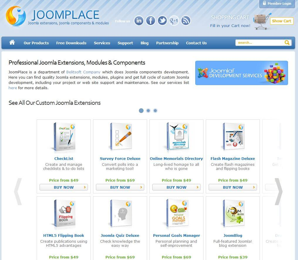 JoomPlace Home page