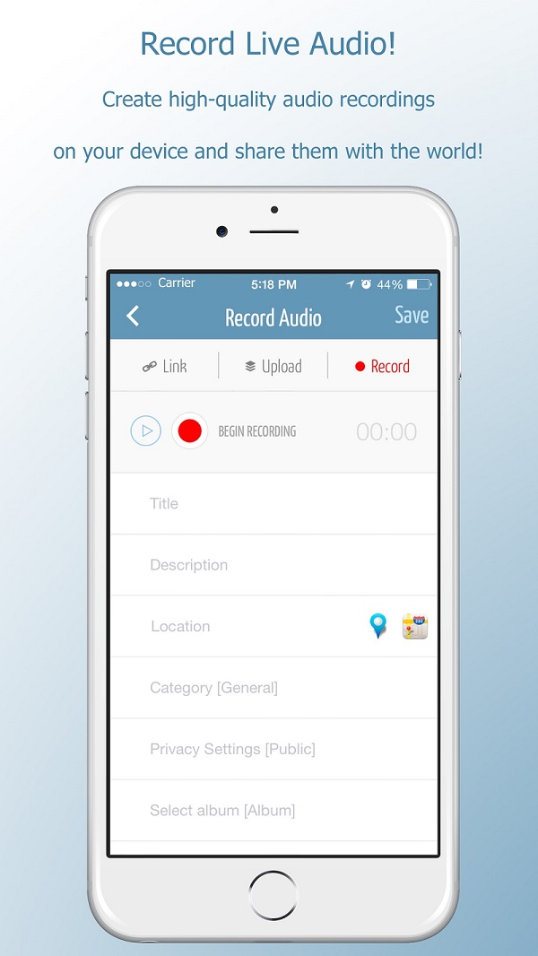 Music Social Network Record Live Audio