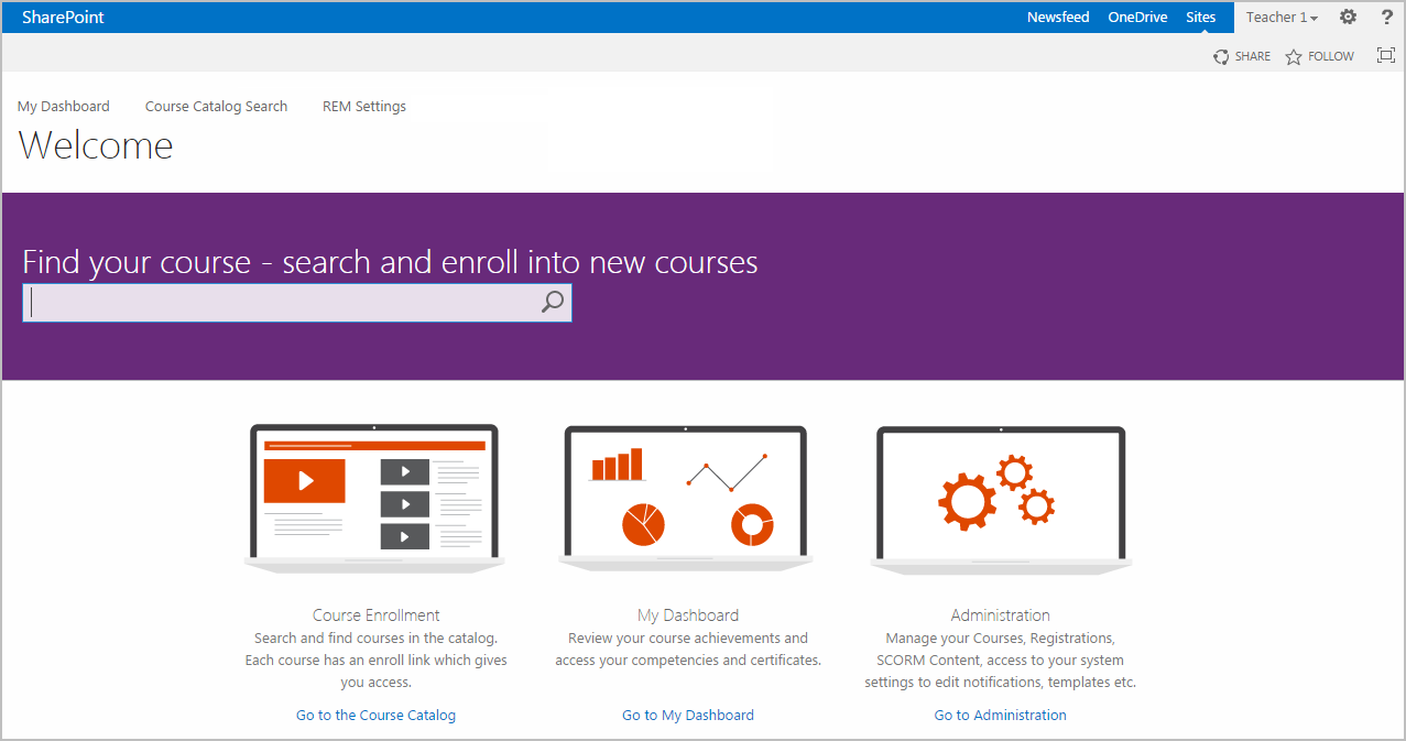 SharePoint LMS Home Page