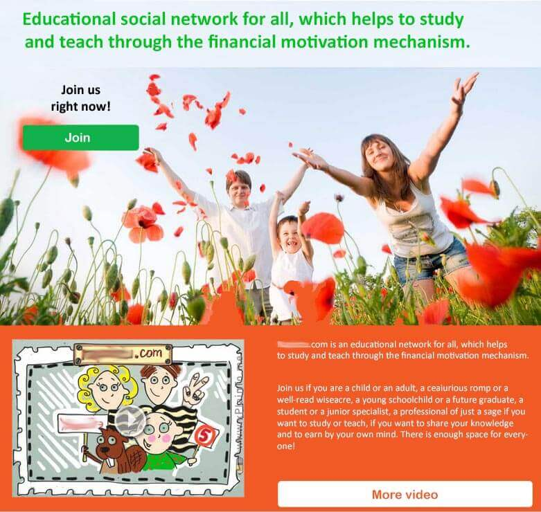 Custom Educational Social Network With Financial Reward For Children