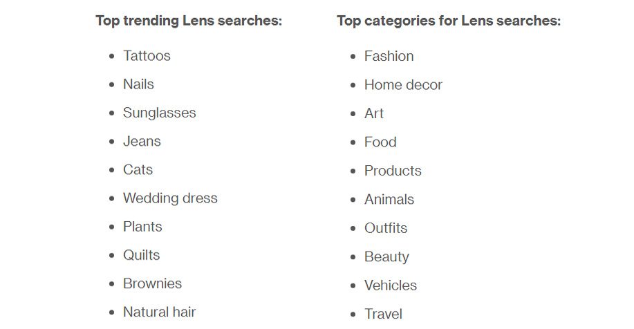 Trending Lens searches (Pinterest)
